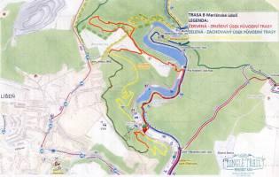 Mapa cyklostezky v Líšni